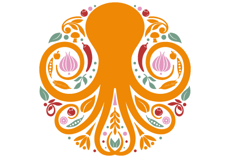 logo Pizza Orange Octopus